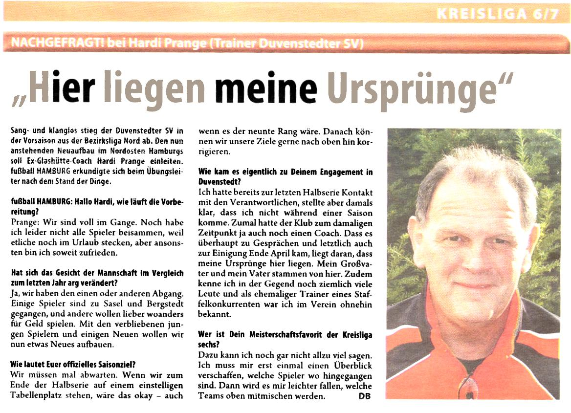 Interview Hardi Prange in Fußball Hamburg vom 19.07.2010